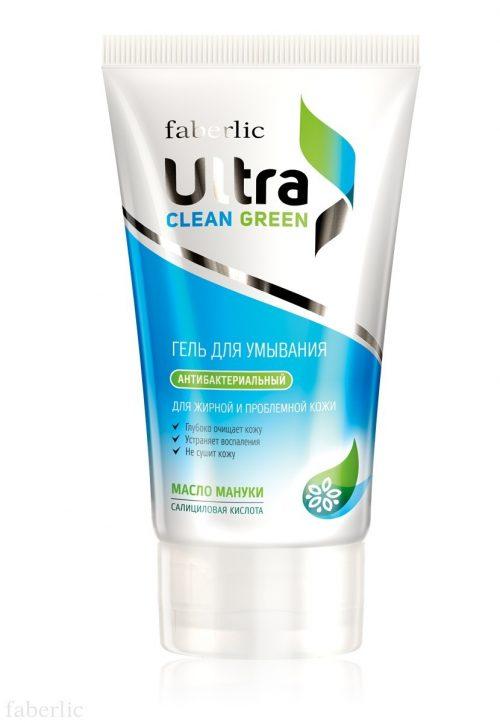 Mycí gel pro mastnou a problémovou pokožku série Ultra Clean Ultra Green